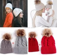 Wholesale baby crochet hats for sale - 10Colors Choose INS Xmas Mom and Me Twist Hats Winter Warm Baby Boys Girls hemp Hats Crochet Knit Hairball Beanie Caps Hats Cup B11