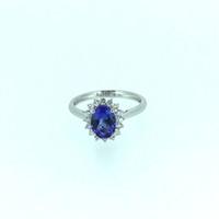 anillos de tanzanita oro 18k al por mayor-ANI 18 K Oro Blanco (AU750) Anillo de bodas para mujer certificado I / SI 1.135 ct Oval Cut Tanzanite Diamond Halo Ring Enagement Jewelry S923