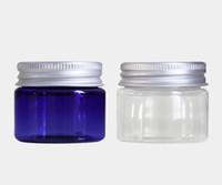blaue kosmetik creme gläser flaschen großhandel-30g klare blaue Plastikcremetiegel 30ml kleine leere PET-Flasche mit Aluminium-Schraubverschluss Kosmetikverpackung