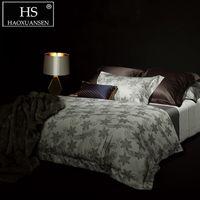 hilo de lino teñido al por mayor-HS Paisley Light Grey Yarn Jacquard teñido 4pcs Juegos de cama de edredón Juego de sábanas de algodón egipcio Queen King Juego de cama doble