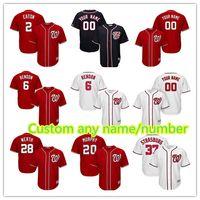 Wholesale custom stitched jerseys - Washington 6 Anthony Rendon 31 Max Scherzer 2 Adam Eaton 20 Daniel Murphy Jersey Men's stitched Baseball Jerseys Custom any name number