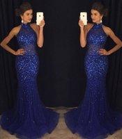vestido de baile halter venda por atacado-2019 Espumante Vestidos Desgaste da Noite Sereia Vestido Azul Até O Chão Sem Encosto Vestidos de Baile Pageant Royal Blue Beads Cristais Halter