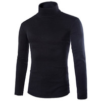 Wholesale mans clothings for sale - 2018 New Fall Mens Knitting Shirt Slim Fit Turtle Neck Knited T Shirts Slim Fit Tops Cardigan Clothings Asia Size S M L Xl