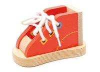 ingrosso scarpe da apprendimento-Scarpa da scarpe in legno di lusso allacciatura Lacci delle scarpe Montessori Sussidi didattici Impara cravatta Lacci Gioco abilità motorie