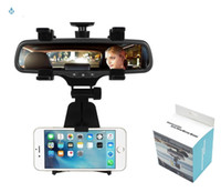 Wholesale rearview mirror holders for iphone - Universal 360 Degrees Car Rearview Mirror Mount Phone Holder Phone Holder Stands For iPhone Samsung HTC GPS Smartphone