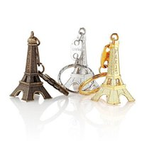 Wholesale eiffel tower paris key - 2018 New Eiffel Tower Keychain stamped Paris France Gold Sliver Bronze key ring gifts Fashion Wholesales