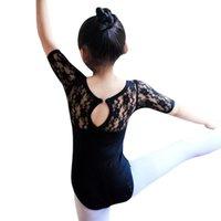 ingrosso vestito mezzo della neonata-New Dance Costume Kids Girl Balletto Mezza manica Dance Dress Lace ginnastica Body Vestiti per neonati