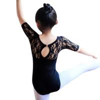 meninas vestido de bailado laço venda por atacado-Nova Dança Traje Crianças Menina Ballet Meia Manga Dança Vestido de Renda Ginástica Collant Roupas Roupas de Bebê
