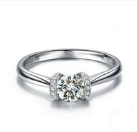 Wholesale simple gold diamond rings for women resale online - Simple CT Synthetic Diamond Ring K White Gold Plated Engagement Wedding Jewelry Top Quality Sterling Silver Finger Rings for Women