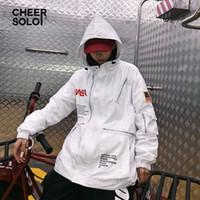 trincheira com capuz branco venda por atacado-Cheersolo Hip Hop Harajuku Com Capuz Trench Coat Mulheres Trench Coat Branco Com Bolsos Blusão Oversize Sobretudo Femme