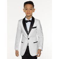 мальчики одеваются для свадьбы оптовых-KUSON White Boy Suit Set Kids Boy Suits for Weddings Prom Suits Children Formal Dress for Boys Kids Tuxedo (Jacket+Pants+Vest)