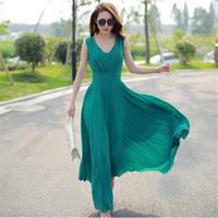желтое шифоновое платье макси оптовых-Wholesale-SZMXSS Summer Maxi Dresses Fashion Sleeveless White Green Yellow Boho Bohemian Beach Chiffon Long Dress Plus Size 5XL Vestidos