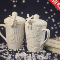 Wholesale Cute Christmas Couples Gifts - Christmas Mugs 3d Amimal Couples Cups With Lid Cute Milu Deer Coffee Cup Milk Cups Snow Ceramic Mug Breakfast Cup Creative Gift