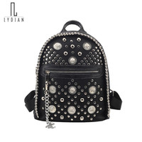 Wholesale punk rock chains resale online - LYDIAN Chain Fashion Small Women Backpack Rivet Zipper Pu Punk Rock Student Backpack Cool Style shoulder Girls Women s Back Pack