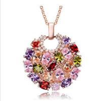 multi edelstein anhänger großhandel-Kostenloser Versand --- Luckyshine Dazzling Rose Gold Multi-Color Kristall Zirkonia Anhänger für Frauen Edelstein Schmuck 2pcs 1bag kp0001