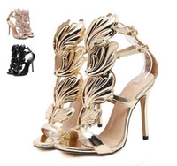 ingrosso sandali neri ali d'oro-Sandali con tacco alto e ali in foglia di metallo con fiamma Oro Nude Black Party Events Shoes Size 35 to 39