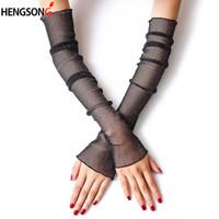 длинные перчатки оптовых-Female Thin Mesh Gloves Women Girls gloves Silk Sleeve Driving sun protector women long arm glove