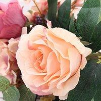 bouquet flores artificiais achat en gros de-11 têtes Real Touch Fleurs Slik Artificielle Rose Fleurs Bouquet flores artificiais Pour La Décoration De Mariage Partie Décor À La Maison