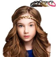 headband cabelo trança venda por atacado-Mulheres Peruca Plait Headband Sintético Peruca de Cabelo Trançado Elastic Headband 2 cm de Largura Hairband para a Menina Do Partido Acessórios Para o Cabelo