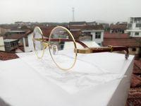 lunettes en or vintage achat en gros de-Lunettes de soleil en bois Homme Marque Designer New 2018 Fashion Retro Buffalo Corne Lunettes Vintage Gold ROUND Frame Lunettes de soleil pour femme Lunettes de vue
