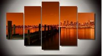 Wholesale Wall Poster New York - 5 Pcs HD Printed New York City Night Landscape Picture Painting wall art room decor print poster picture canvas Free shipping ny-864