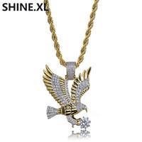 joyería de la mosca al por mayor-Collar de los hombres de Color Oro Plateado Flying Eagle Colgante Collar Micro Pave Circón Moda Animal Joyería Al Por Mayor