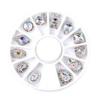 encantos da roda de liga venda por atacado-12 pçs / caixa Nail Art Strass Charme Limpar Liga AB Decorações De Cristal De Unhas Roda 3D Mix Designs Q146