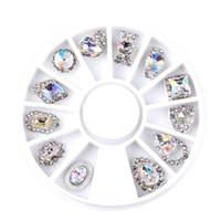 ingrosso fascini della ruota in lega-12pcs / Box Nail Art Rhinestone Charm Clear AB lega decorazioni per unghie in cristallo Wheel 3D Mix Designs Q146