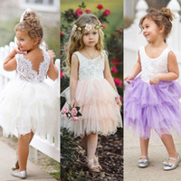 Wholesale Wholesale Childrens Party Dresses - Baby Girls Dress Christmas Crochet Lace Babies Princess Tutu 2018 Summer Dresses Childrens Sleeveless Kids Clothing Wedding Party Dress A236