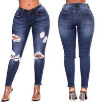 ingrosso jeans denim donne blu scuro-2018 nuove donne Ripped Jeans aderenti sexy Skin Tight Dark Blue Jeans matita High Street Boroken pantaloni del denim