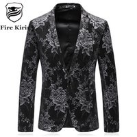 Wholesale Vintage Slim Fit Blazers Men - Fire Kirin Luxury Brand Floral Blazer Men 2017 Slim Fit Mens Printed Blazer High Quality Vintage Blazers Casual Suit Jacket Q431