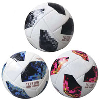 Wholesale white fans - Russia 2018 World Cup Football Ball Telstar Top Glider PU Soccer Balls High Grade Seamless Paste Skin Training Fan Souvenir White Blue Black