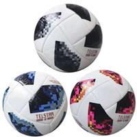Wholesale paste cup - Russia 2018 World Cup Football Ball Telstar Top Glider PU Soccer Balls High Grade Seamless Paste Skin Training Fan Souvenir White Blue Black