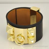 venta de regalos de san valentín al por mayor-Venta caliente CDC Nuevo diseño pulsera de acero Titanum con cuero genuino en muchos colores Mujeres y hombre regalos de joyería de marca PS5375