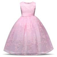 kinder rosa kleid für kinder großhandel-Rosa Kleid für Kinder 4-10 Jahre Teen Mädchen Geburtstag Brautkleider Tüll Mädchen Kleid Kinder Formelle Party Kostüm Prom Kleider Sommer 2018
