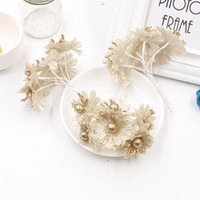 Wholesale golden flowers decorations - 6pcs Golden Silver Glitter Artificial silk flower bouquet for Wedding Decoration Scrapbook DIY handcraft Fake flowers