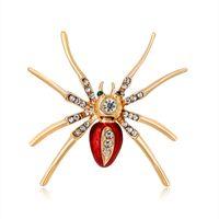 mücevher broşu örümcekleri toptan satış-Kristal Reçine Böcek Pimleri ve Kadınlar için Broş Örümcek Broş Rozeti Yaka Pin Parti Düğün Moda Takı ÜCRETSIZ KARGO
