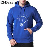 nova fábrica de vestuário venda por atacado-Rfbear Brand New Homens Hoodies Camisola Cor Sólida Tendência de Impressão de Algodão Pulôver Casaco Homens Roupas Hip-Hop Masculino Factory Outlet
