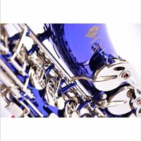 Wholesale Selmer Top music France E flat Alto Saxophone Professional Eb Blue silver key Sax Mouthpiece With Case and Accessories