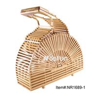 tissage de vase achat en gros de-Bambou naturel bois de rotin paille all-match bambou tissage sac de sac à main demi-rond fan pot de vin vase forme sac à main des femmes