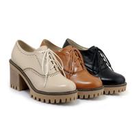 ingrosso tacchi alti-Street Style Top Quality 8cm Chunky Tacco alto con lacci antiscivolo Stivali piattaforma per donna Scarpe da donna