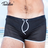 0f27c8e074 Taddlee Brand Swimwear Men Swimsuits Swim Boxer Trunks Shorts Men's Surf  Board Shorts Gay Black Solid Mesh Swimming Plus Size