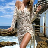 Wholesale Long White Cotton Beach Dresses - women Sexy Beach Cover up Crochet dress 2018 new Hollow Out White Swimwear Dress Ladies Bathing Suit Cover up Beach Tunic