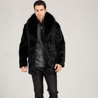 Wholesale Menswear Jacket - Hot sale!Winter men fashion fox fur collar faux rabbit fur coats Black luxury leather suit parka Upscale casual menswear jackets