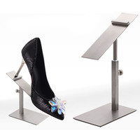 Wholesale wholesale shoe display stand - Silver Rose Gold Stainless Steel Shoes Display Stand Racks Adjustable Metal Shoe Showing Display Holder QW7157