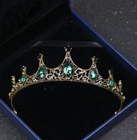 telli elmas taklidi saç aksesuarları toptan satış-Vintage düğün taç koyu yeşil Rhinestone Boncuklu Saç Aksesuarları Bandı Bandı Taç Tiara Şerit Başlığı Takı ücretsiz kargo