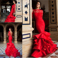 Wholesale multilayer dress - Sexy Red Mermaid Prom Dresses Lace Appliques Dresses And Multilayer Ruffles Sweep Train For Party Dresses