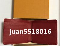 piel genuina al por mayor-Con el logo de la caja Paris Premium Red Leather Slender Wallet X Rojo Black Wallet Cuero genuino Bolsa de deporte al aire libre