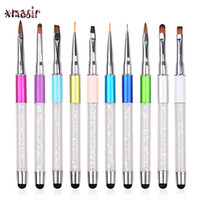 Wholesale Touch Screen Nails - Wholesale-1 PCS Body Face Paint Brush Tools Nail Painting Brush Makeup Drawing Pens with Touch Screen Rhinestones Acrylic Handle Brush