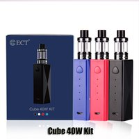 Wholesale Cube Build - 100% Original ECT Cube 40W Starter Kit Built-in 2200mAh 2ml Top Filling Kenjoy Elfin Atomizer Genuine